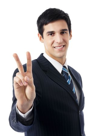 Happy businessman showing two fingers, isolated on white Stock Photo - 7582117
