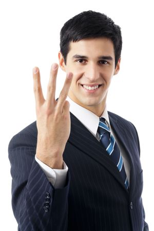 Happy businessman showing three fingers, isolated on white Stock Photo - 7582115