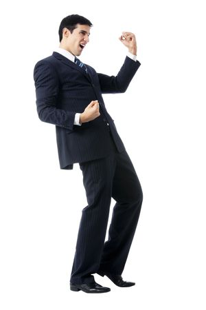 very: Very happy successful gesturing businessman, isolated on white