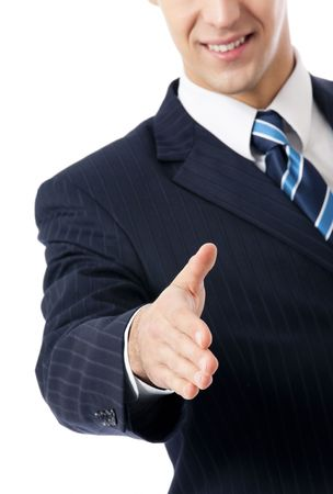 Businessman giving hand for handshake, isolated on white Stock Photo - 7582103