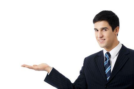 Photo of showing businessman, isolated on white photo
