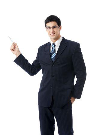 Happy businessman showing, isolated on white photo