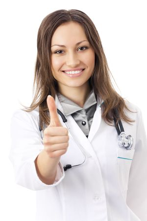 Happy female doctor with thumbs up, isolated on white photo