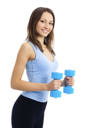 Young woman in sportswear with dumbbells, isolated on white photo