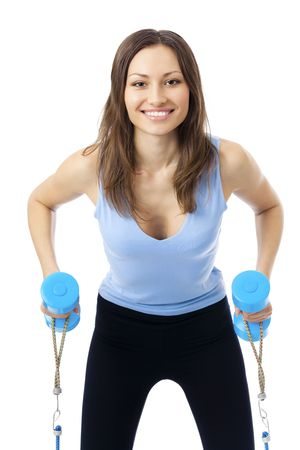 expander: Woman doing exercises with dumbbells and expander, isolated on white Stock Photo