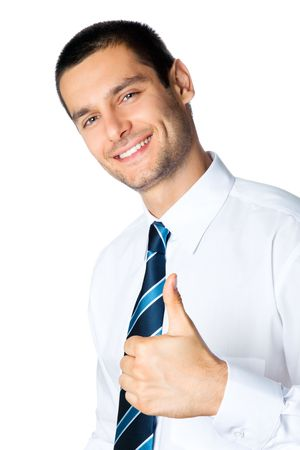 Happy businessman with thumbs up gesture, isolated on white Stock Photo - 7778621