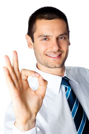 whitebackground: Happy businessman with okay gesture, isolated on white