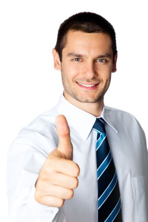alright: Happy businessman with thumbs up gesture, isolated on white