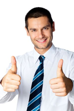Happy businessman with thumbs up gesture, isolated on white Stock Photo - 7778663