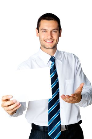 Young businessman showing signboard, isolated on white photo