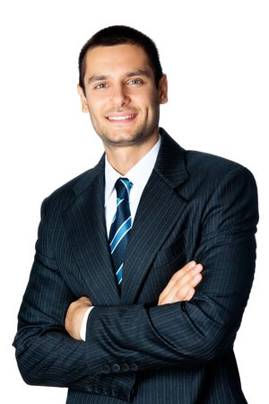Portrait of happy smiling businessman, isolated on white photo