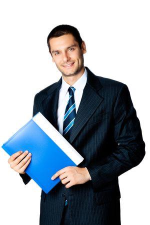 presentation folder: Portrait of smiling businessman with blue folder, isolated on white Stock Photo