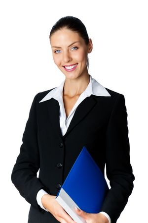 Portrait of smiling businesswoman with blue folder, isolated on white photo