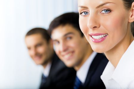 Portrait of successful businesswoman and colleagues on background, at office Stock Photo - 7875254
