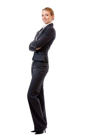 Full body portrait of businesswoman, isolated on white photo