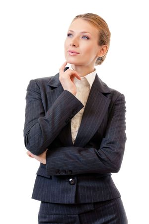 Portrait of thinking businesswoman, isolated on white Stock Photo - 7875307