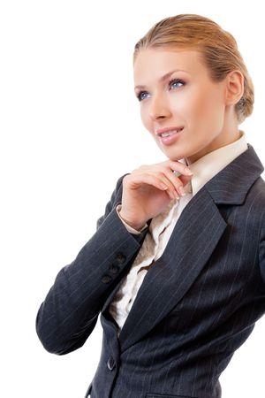 Portrait of thinking businesswoman, isolated on white Stock Photo - 7875327