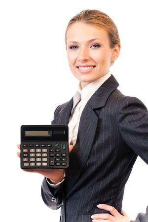 contabilidad financiera cuentas: Calculadora de mostrando empresaria, aislado en blanco