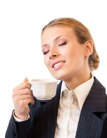 Businesswoman with coffee, isolated on white photo