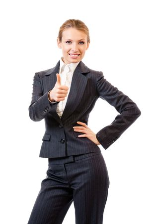 Businesswoman with thumbs up gesture, isolated on white photo
