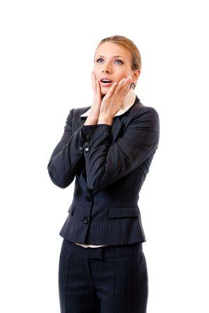 Shocked businesswoman, isolated on white Stock Photo - 7875280