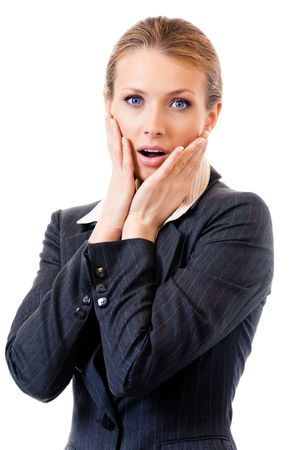 gesturing: Shocked businesswoman, isolated on white Stock Photo