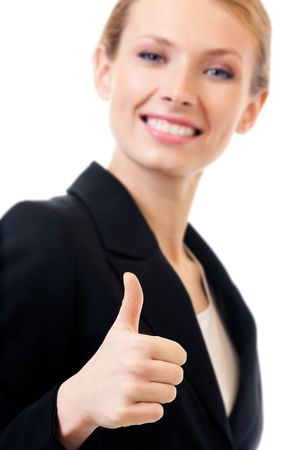 Businesswoman with thumbs up gesture, isolated on white. Focus on hand. Stock Photo - 7875279