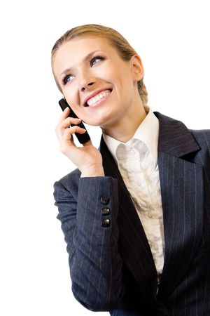 Businesswoman with cell phone, isolated on white photo