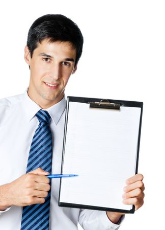 demonstrate: Businessman showing clipboard, isolated on white