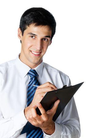 businessman signing documents: Happy smiling businessman writing, isolated on white