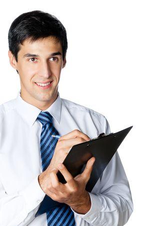 Happy smiling businessman writing, isolated on white Stock Photo - 8062524