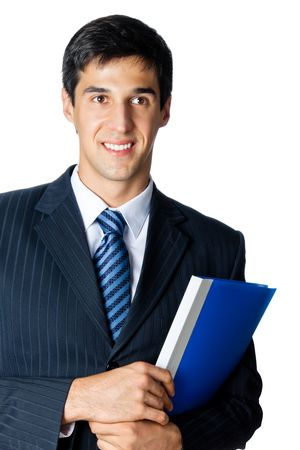 Smiling businessman with blue folder, isolated on white photo