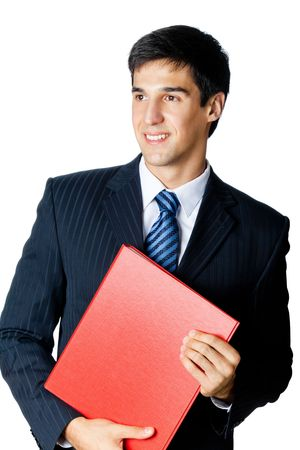 Smiling businessman with red folder, isolated on white photo