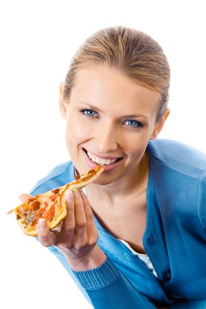 Woman eating pizza, isolated on white Stock Photo - 8062556