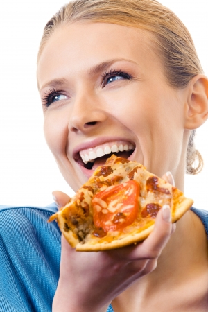 Woman eating pizza, isolated on white photo