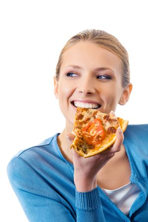 eating pizza: Woman eating pizza, isolated on white Stock Photo