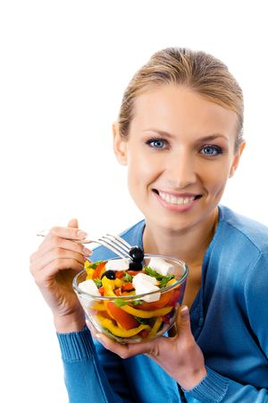 european food: Happy smiling woman with salad, isolated on white