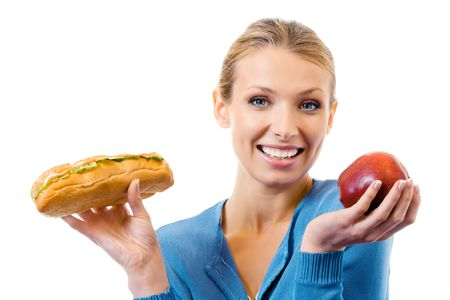 Woman with sandwich and apple, isolated on white Stock Photo - 8062552