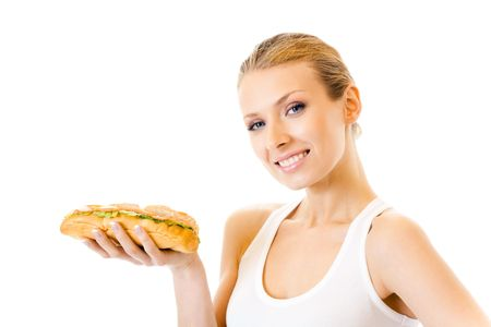 Woman with sandwich, isolated on white photo