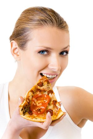 Woman in sportswear eating pizza, isolated on white Stock Photo - 8062554