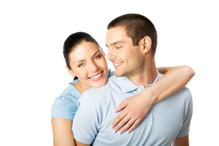 dating couples: Portrait of young happy smiling attractive couple, isolated on white background Stock Photo