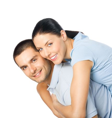 Portrait of young happy smiling attractive couple, isolated on white background Stock Photo - 8156346