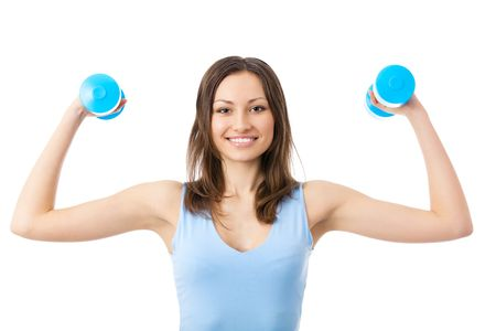 Portrait of young happy smiling woman in sportswear, doing fitness exercise with dumbbells, isolated on white background photo
