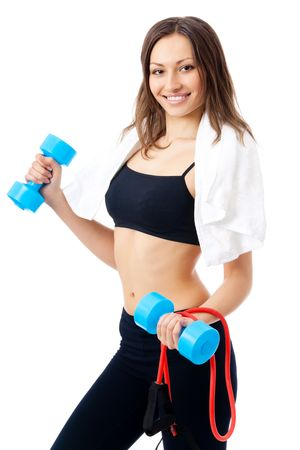 Portrait of young happy smiling woman in sportswear with dumbbells and expander, isolated on white background