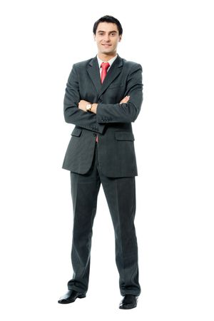 1 man only: Full body portrait of happy smiling successful businessman, isolated on white background