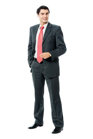 Full body portrait of happy smiling successful businessman, isolated on white background photo