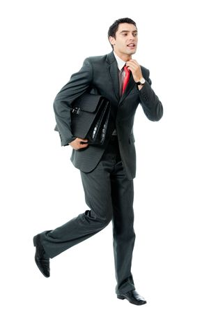 Very busy businessman with briefcase running to important meeting, isolated on white background photo