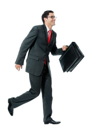 meet: Very busy businessman with briefcase running to important meeting, isolated on white background