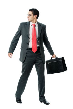 to hasten: Businessman with briefcase, isolated on white background Stock Photo