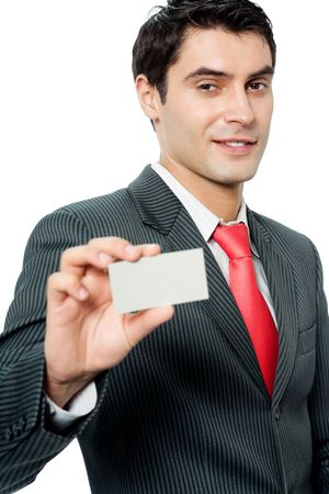 Businessman giving business card, isolated on white background photo
